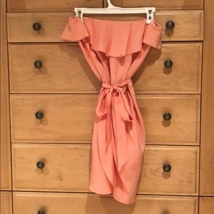 Amanda Uprichard Coral Silk Strapless Dress